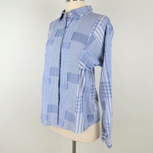 Odille Anthro | Blue White Plaid Madras Blouse C6